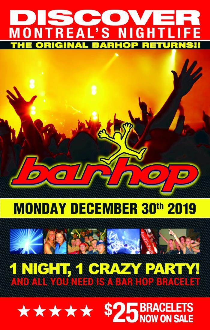 Buy BarHop Dec 30th New Years Eve 2021 tickets - NO SERVICE FEES! Montreal, QC